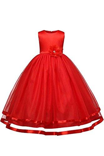 YMING Kinder Kleider Festlich Brautjungfern Kleid Prinzessin Hochzeit Party Kleid Tütü Kleid,Rot,2-3 Jahre Alt
