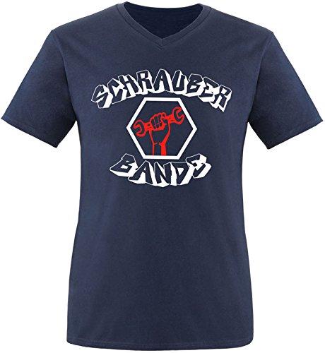 EZYshirt® Schrauber Bande Herren V-Neck T-Shirt Navy/Weiss/Rot