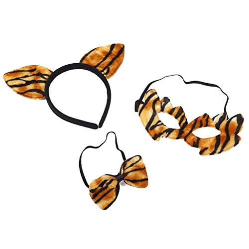 AMOSFUN Halloween Kinder Cosplay Kostüm Cheetah Ohren Stirnband Leopardenmuster Bowtie Maske Set für Kinder Leistung Kostüm Zubehör 3 stücke (Cheetah Kostüm Kinder)