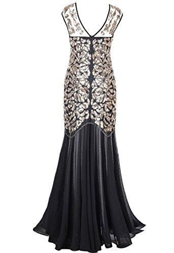 PrettyGuide Damen 1920s Schwarz Pailletten Gatsby Abendkleid Maxi Langes Kleid Gold