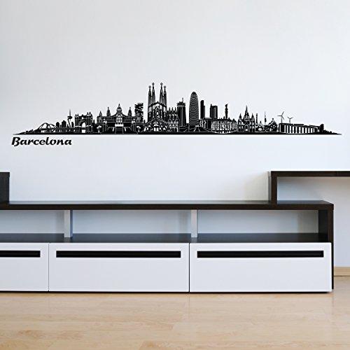 Preisvergleich Produktbild Wandkings Skyline Wandaufkleber Wandtattoo - 125 x 30 cm in schwarz - Deine Stadt wählbar - Barcelona