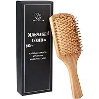 Cepillo Bambu,LUOLLOVE Cepillo Pelo con Cerdas Naturales,Hair Comb Anti Static,Regalo Cepillo Cabello para Mujer,Hombres y Niños(A Tipo)