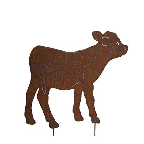 megaso-store Gartenfigur Metall - Kuh Bulle - Edelrost - Höhe 57 cm - Breite ca. 64 cm -