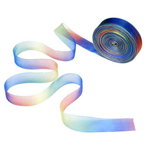 der 50 Yard Schimmer Sheer Organza Regenbogen Gradient Farben Band für Geschenk DIY Handgefertigt Schleife Hochzeit Decor 25mm ()