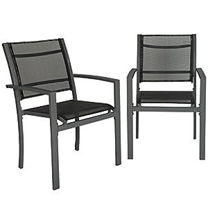 TecTake 800322 Gartenstuhl 2er Set Hochlehner aus Metall und Kunststoffgewebe, äußerst plfegeleicht, mit Armlehnen…