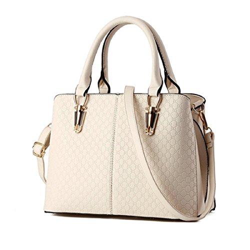 Syknb Nuovo Arrivo Moda Donna Borse Borse A Tracolla In Pelle Pu Nero Solido Top-Maniglia Femmina Borse Messenger Bag,Nero Creamy white