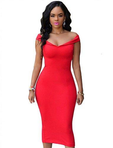 PU&PU Robe Aux femmes Gaine Street Chic,Couleur Pleine Bateau Midi Polyester RED-M