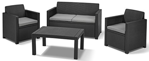 Allibert Lounge Set in Rattanoptik, Merano (2 Sessel, 1 Sofa, 1 Tisch), stabiles Kunststoff, grafit (Lounge 1)