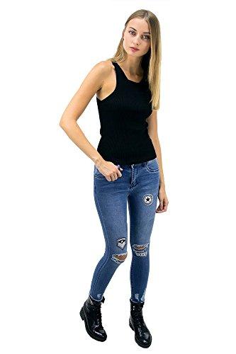 DSguided Damen Jeanshose Denim Patches Abzeichen zerissenen Knien Blogger Jeans Blau Denim