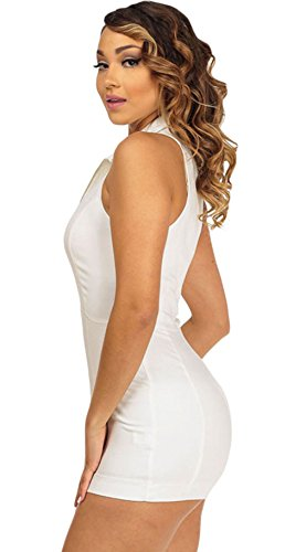 Y-BOA Femme Jumpsuit Sans Manche Combinaison Zippé Romper Short Slim Blanc