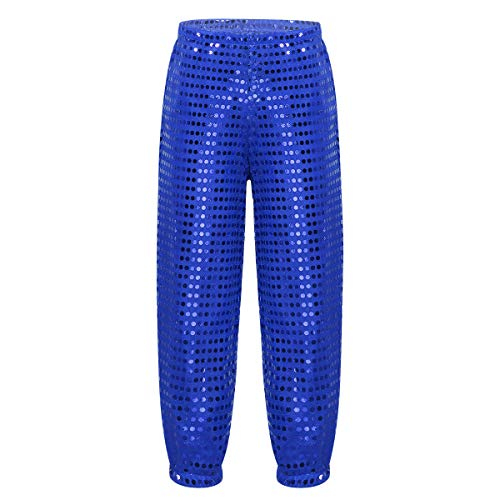 etten Hose Lang Tanzkleidung Tanz Cheerleading Disco Kostüm Locker für Party Performance Blau 122-128/7-8Jahre ()
