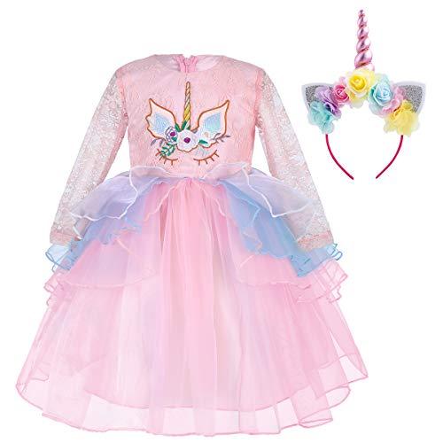 56dd6f073 Princesa Bebé Niña Vestido Unicornio Cumpleaños Vestido de Encaje de Manga  Larga Disfraz de Cosplay para