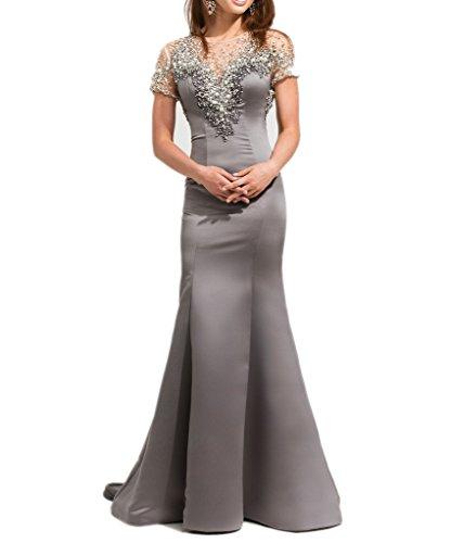Milano Bride 2017 Neu Satin Steine Meerjungfrau Abendkleider Brautmutterkleider Festlichkleider fuer Hochzeits Partykleider Grau
