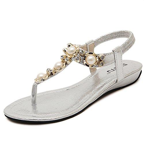 Sandales plates avec strass perles Chaussures de plage style Bohême L`été pour Femme Fille Argent