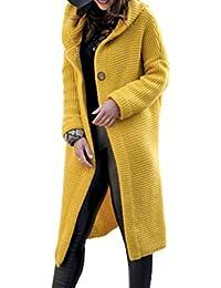 7d6724325dcb Femmes Manteau avec Capuche Automne Hiver Élégant en Vrac Tricot Chandail  Cardigan Couleur Unie Manche Longue Coupe Slim Veste…