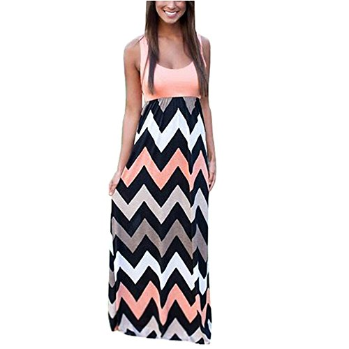 Yidarton Women Striped Sleeveless Maxi Summer Long Dresses ( Pink,XXL)