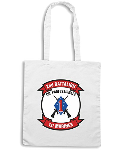 T-Shirtshock - Borsa Shopping TM0316 2nd Battalion 1st Marine Regiment USMC usa Bianco
