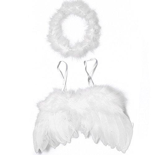Unbekannt Baby Engel Kostüm Fotoshooting Weihnachten Engelsflügel Federn + Heiligenschein
