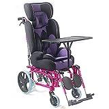 QETU Silla de Ruedas Manual para niños con Respaldo Alto - Aleación de Aluminio Ligera con Mesa de Comedor Parálisis Cerebral Trolley reclinado para niños