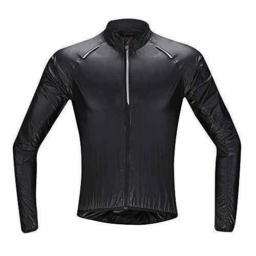 Santic Fahrradjacke Herren Langarm Radjacke Herren Windstopper Jacke Fahrrad Reflektierend und Super Leicht Schwarz EU XS