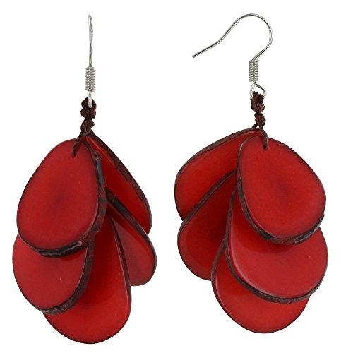 Schmuck Les Poulettes - Ohrringe Cluster von Blütenblätter Tagua - Rote (Tagua-ohrringe)