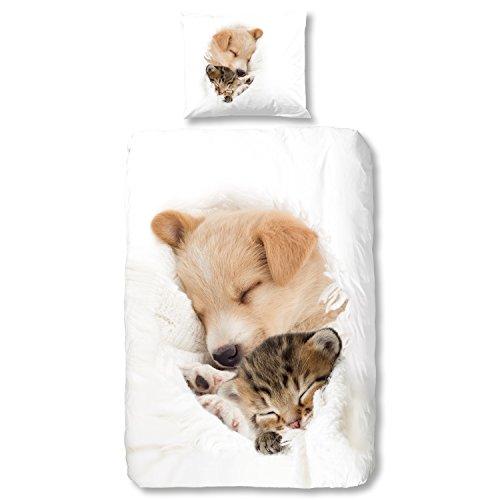 good morning Juego de cama (2piezas, funda nórdica de 135x 200cm 80x 80cm funda de almohada Good Morning perro & gato 5577.00.08Color Blanco
