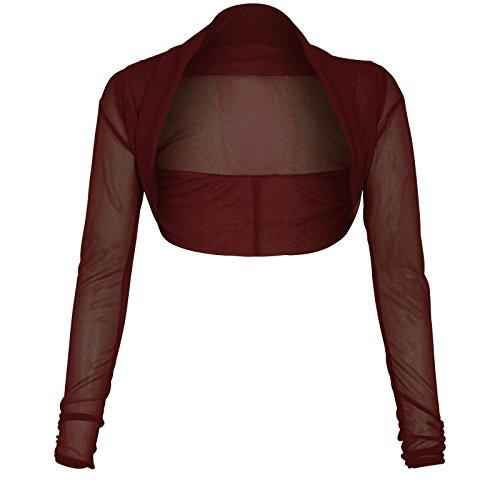 Neue Frauen Plus Size Langarmshirt transparentem Netz Bolero Shrug Top 36-50 Brown