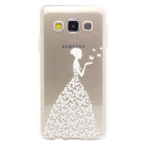 Galaxy A3 (2015) Hülle, JIAXIUFEN Schutzhülle Case Cover Schale Tasche Hülle für Samsung Galaxy A3 (2015) (SM-A300F) Hülle Handytasche HandyHülle Etui Schale - Henna Beautiful Butterfly Girl