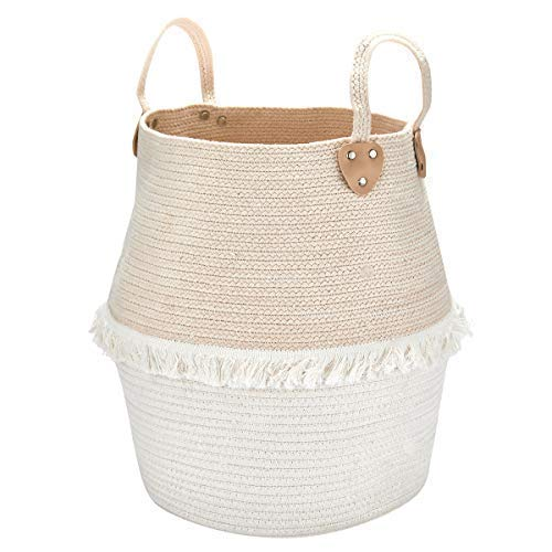 La Jolíe Muse Wäschekorb Aufbewahrungskorb aus Baumwolle Seil, Für Kinderzimmer Wohnzimmer Badzimmer, Groß H40 x D38cm Stabile und Faltbare