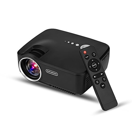 Mini Beamer,Richer-R LED Projektor 1080P Full HD Multimedia Heimkino Stereo-Sound Projektor,Tragbarer Videoprojektor Beamer mit HDMI VGA AV USB für Geburtstagsfeier Familie Party (EU-plug)