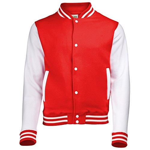 Jacke im Stil einer Uni-/Baseball-Jacke, Unisex Gr. 5-6 Jahre, FIRE RED/WHITE