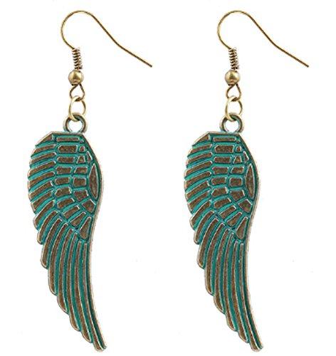 SaySure - Punk Retro Angel Wings Earrings Bronze Alloy