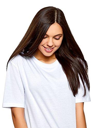 oodji Ultra Damen Tagless Lässiges T-Shirt mit Rundem Ausschnitt Weiß (1000N)