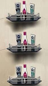 U-S-F BATH ACCESSORIES Glass Corner Shelf Bathroom Shelf and Kitchen Shelf - 9 X 9 Inches -Black -Diamond (Transparent) Pack of 3