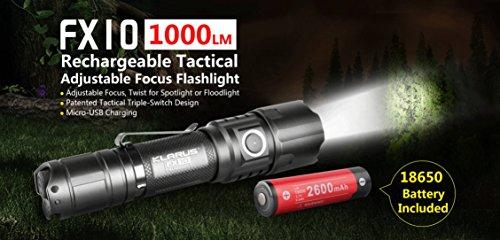 Klarus FX10Taktische Taschenlampe Akku mit Zoom, 1000Lumens, adgiustable Focus (Test-licht-schalter)