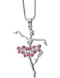 OULII Crystal Ballet Girls Pendant Necklace Bailarina forma cuello regalo de decoración (rojo)