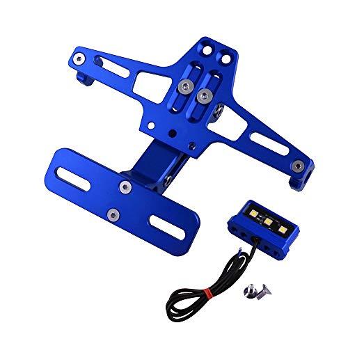 CNC Aluminium Motorrad Universal Einstellbare Kennzeichenhalter Halterung Motorradzubehör ZHQHYQHHX (Farbe : Blau) -