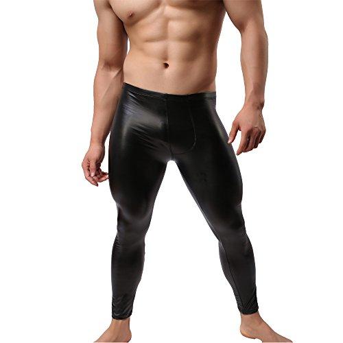 GuangmingXi Pantalones largos de cuero de imitación de hombre Pantalones largos Ropa interior apretada John Clubwear (Black, Asian Medium (EU Small))