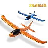 BEYUMI 2pcs airplane, manual throwing, fun, challenging, outdoor sports toy, model foam airplane, blue & orange airplane