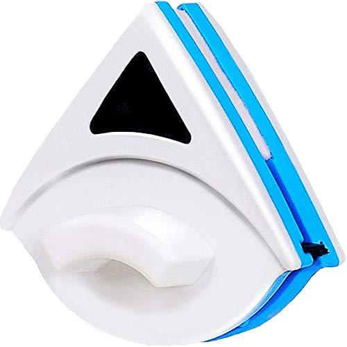 Herramienta De Limpieza De Vidrio, Herramienta De Limpieza Magnética De Doble Capa Ajustable con Cuerda Anti-Caída. para Ventanas De Gran Altura De Un Solo Vidrio (Azul)
