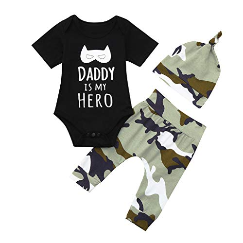 JUTOO Baby 2 Stücke Set Boy & Girl Neugeborenen Kleidung Brief Cartoon Strampler Tops + Camo Hosen Outfit Set (Schwarz-B,90(6-12 Months))