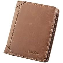 ALIKEEY Cartera De Ocio Hombres Slim Cuero Mini Monedero Tarjeta De Crédito Trifold Monedero Moneda Cadena