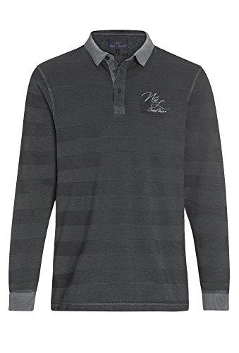 Paul R.Smith Gestreiftes Langarm-Poloshirt in Vintage-Optik - Herren Polo-Shirt Männer Streifen Dunkelgrau,XL (Polo-shirt Gestreiftes Grau)