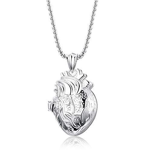 Finrezio Edelstahl anatomisches Herz Anhänger Halskette für Männer Frauen Gedenkfall Andenken Schmuck Silberton