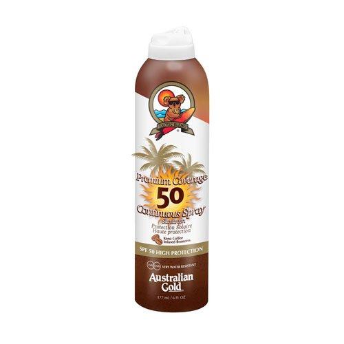 Australian Gold SPF 50 Premium Coverage Spray plus Bronzer, 10133, 1er Pack (1 x 0.177 l) - Gold Bronzer