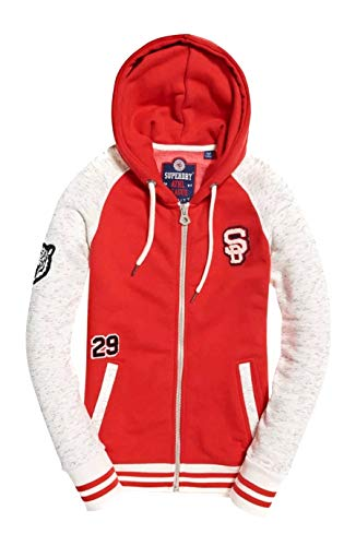 Winter Hoodie Red Size Patch Oatmeal 99 Superdry Zip Large Womens College Top Grey New Rrp£59 Bnwt 6bgIYyvf7m