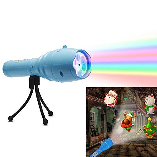 HLDUYIN Tragbare LED-Projektorleuchten mit Stativ Kids Handheld Taschenlampe 12 Musterfolien Festliche dekorative Musikleuchten,Blue