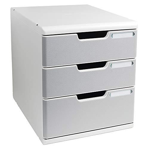Exacompta - Mueble archivador con 3 cajones (tamaño A4), color gris perla
