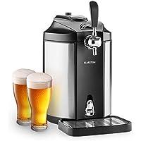 Klarstein Skal Bierzapfanlage Bierkühler CO²-Druckkartuschen-System 5 Liter Bierfässchen geräuscharm thermoelektrisches Kühlsystem 6 Kühltemperaturen LED-Anzeige Edelstahl silber