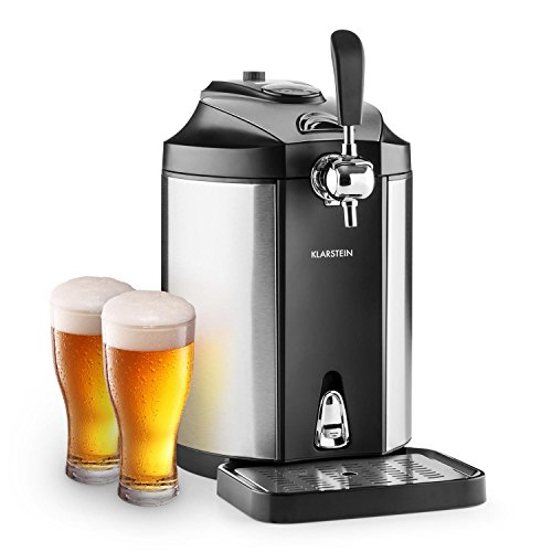 Klarstein Skal Bierzapfanlage Bierkühler (CO²-Druckkartuschen-System, passend für 5 Liter Bierfässchen, geräuscharm, thermoelektrisches Kühlsystem, Edelstahl) silber